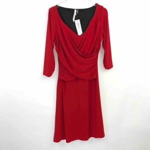 NEW NY Collection 3/4 Sleeve Cris-Cross Dress MED
